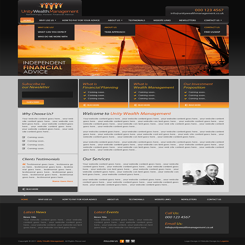 Sample Page: Finance Website Design, Web Development From $169 By Expert Web Designers Of LogoInn.com